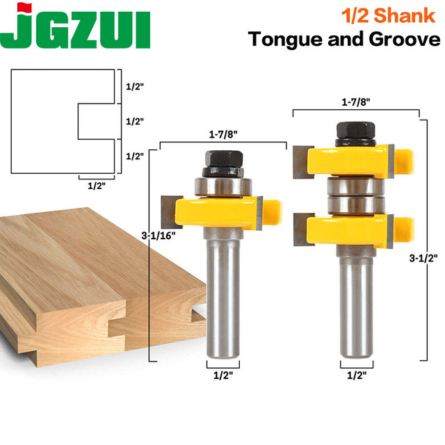 """1 1/2"""" 2 Bit Tongue and Groove Router Bit Set   Joint Assembly Router Bit Set 1 1/2"""" Stock Wood Cutting Tool RCT15210"""