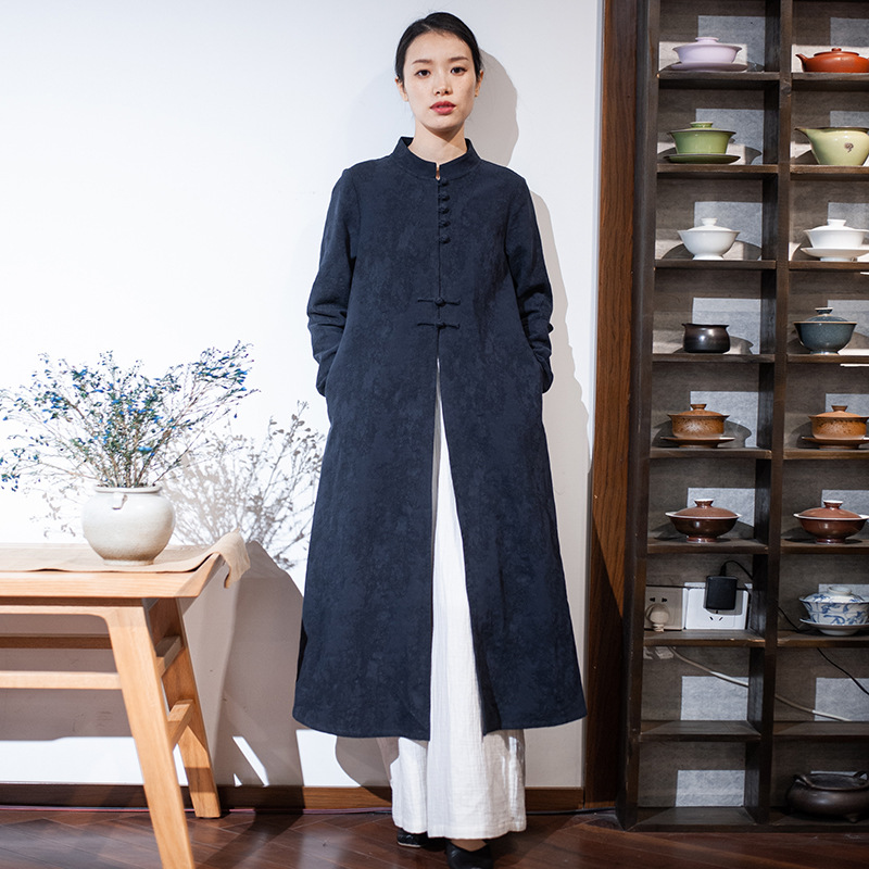 Chinese Style Jacket Female Spring Original Retro Handmade Plate Buttons Stand Collar Jacquard Long Cardigan Coat