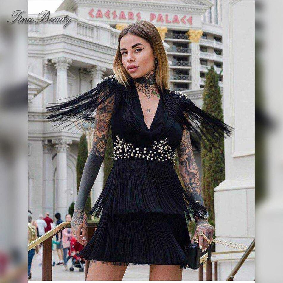 Bright Tina Beauty Black V Neck Cap Sleeve Minidress Female Beaded Embellished Tassel Fashion Bandage Dress Back Keyhole Fringe Dresses