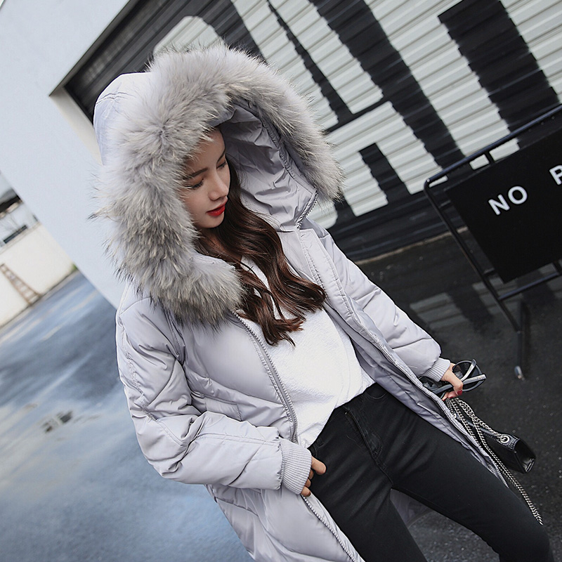 Long Parka Women Plus Size Winter Jacket 2017 New Down Cotton Padded Coat Fur Collar Hooded Solid Thicken Warm Overcoat QW702 new winter women jacket medium long thicken plus size outwear hooded wadded coat slim parka cotton padded jacket overcoat cm1039
