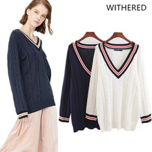 Withered 2018 BTS women sweater england style pullovers panelled none  regular V-neck sweater women d9ebdabc5620