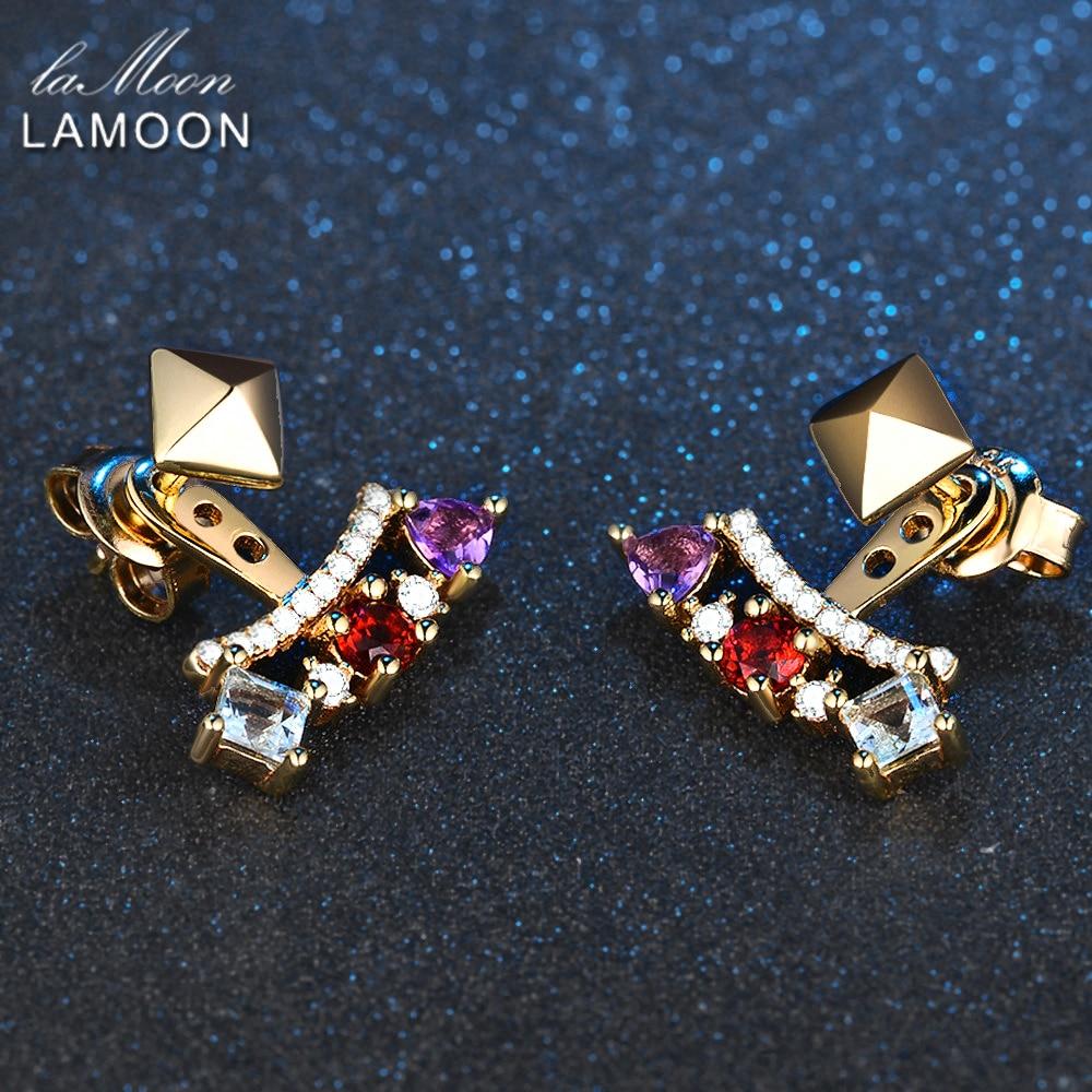 LAMOON-Piramida 0.7ct 3mm Təbii Ametist Garnet Topaz 925 Sterling - Gözəl zərgərlik - Fotoqrafiya 5