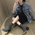 European women winter boots glitter botas mujer shiny sock boots heels luxury brand design woman ankle Chelsea shoes XWN0875