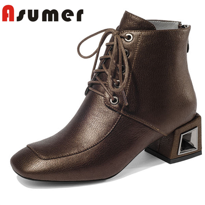 все цены на ASUMER HOT SALE 2018 fashion square toe ankle boots for women thick heels winter boots simple zip adult genuine leather boots