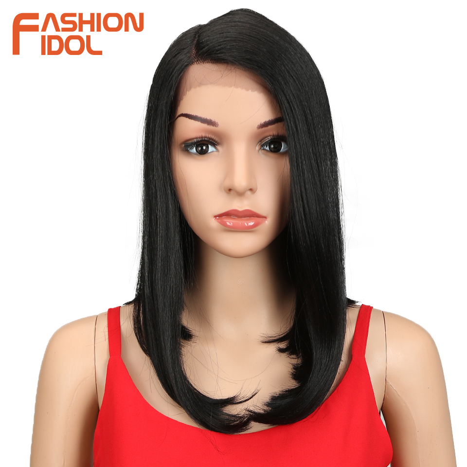FASHION IDOL 20 Inch Lace Front Wig Medium Wavy Synthetic Hair Wigs Ombre Bob Wigs For Black Women Heat Resistant Synthetic Wig