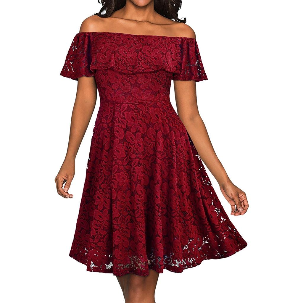 MUQGEW 2019 soild lace Slash neck summer dress Women Formal Lace Butterfly Sleeve Off The Shoulder Chiffon Dress