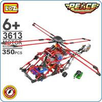 LOZ 기어 모터 빌딩 블록 무거운 수송 헬기 군사 모델 평화 아이 조립 장난감 소년 테크닉 3613