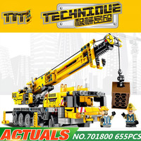 Diy 665Pcs Legoingly Technic Machine Crane Car Learning Building Blocks Brick Education Toys For Kids compatible Christmas Gifts
