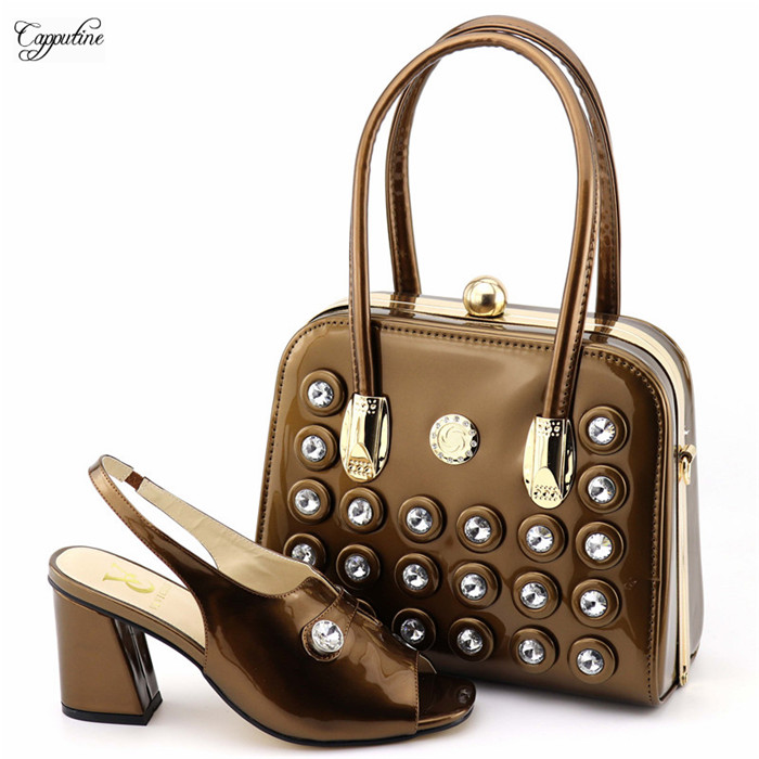 New fashion coffee sandals with handbag nice pump shoes and bag set with stones 8101New fashion coffee sandals with handbag nice pump shoes and bag set with stones 8101