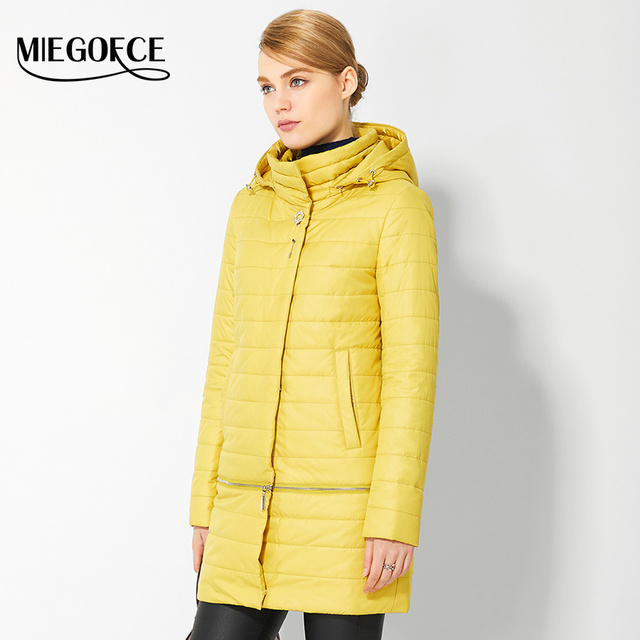 2017 Spring Women's Parkas with brooch Windproof Warm Women's Thin Cotton-padded Jacket Womens Quilted Coat New Design MIEGOFCE