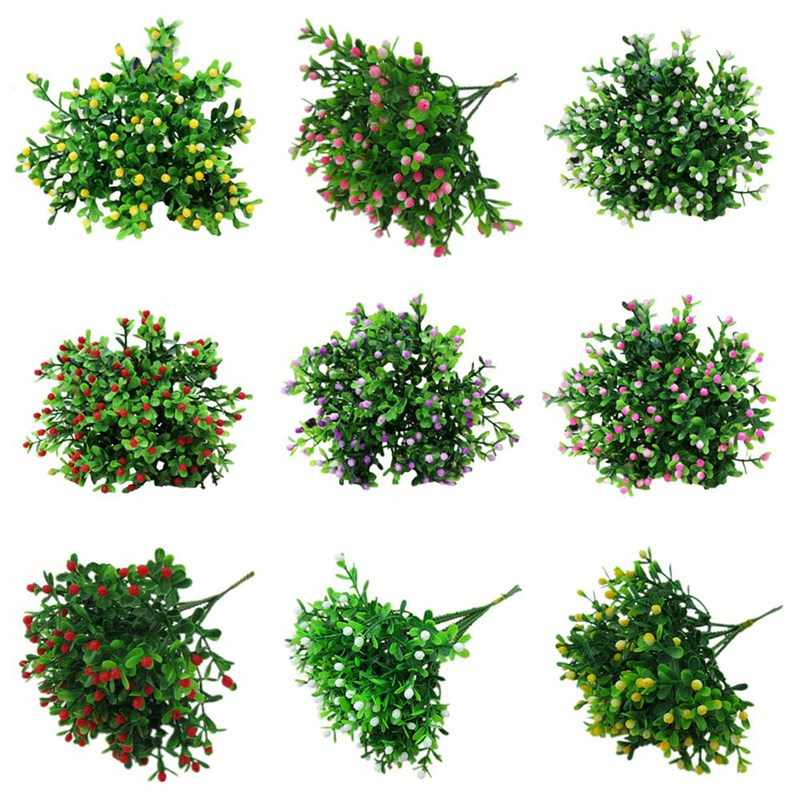 Green Artificial Flower Simulation Milan Small Bouquet Plastic Plant Flowers For Wedding Home Office Party Decoration Art