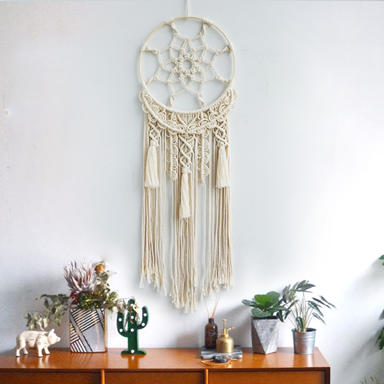 Macrame wall hanging Tapestry Handmade Cotton cord Weaving Living Room Bedroom Ornaments B B Decoration Boho Decor Dream Catcher in Tapestry from Home Garden