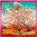 90 * 90cm Japan and South Korea Department of small fresh wind oil painting autumn leaves fence ladies scarves scarf