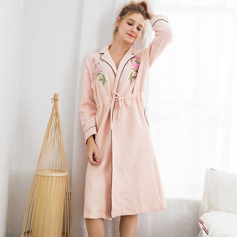 0acea58c78 Pajamas Women s Autumn And Winter Air Cotton Thick Ladies Warm Bathrobes  Quilted Cotton Long Robe