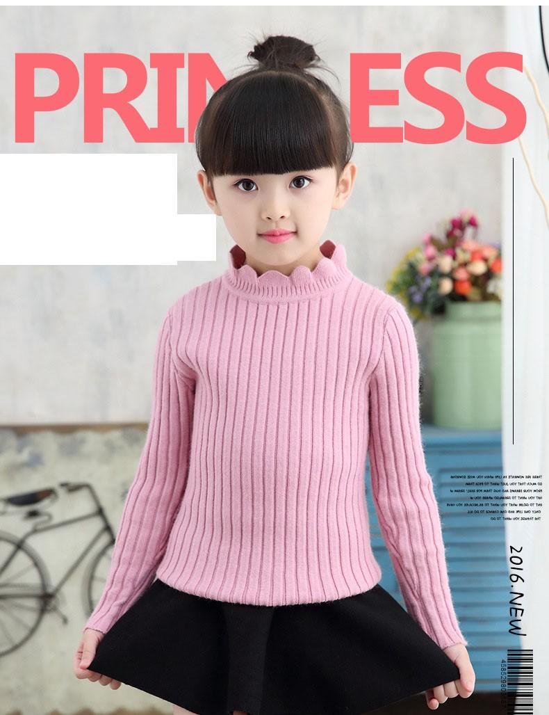 knitting big baby girls sweaters kids winter sweater 2016 long sleeve tops knitted kids sweaters girls pink green black kids top (23)