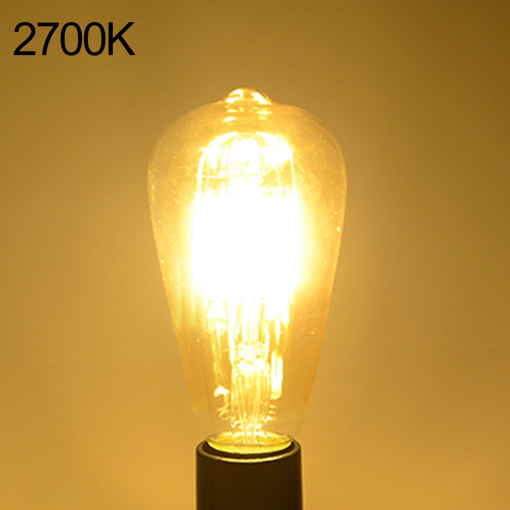 High Quality Vintage Edison Led Bulb E26 4W 6W 8W Golden Glass shell Retro LED Filament Light ST64 E27 AC110V 140V Dimmable Lamp high brightness 1pcs led edison bulb indoor led light clear glass ac220 230v e27 2w 4w 6w 8w led filament bulb white warm white
