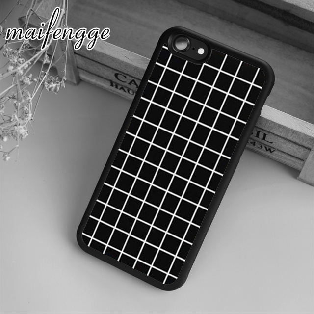 best service c8559 721e2 US $3.19 20% OFF|maifengge Black Tumblr Grid Case For iPhone 6 6S 7 8 Plus  X 5 5S SE Case cover for Samsung S5 S6 S7 edge S8 Plus shell-in Fitted ...