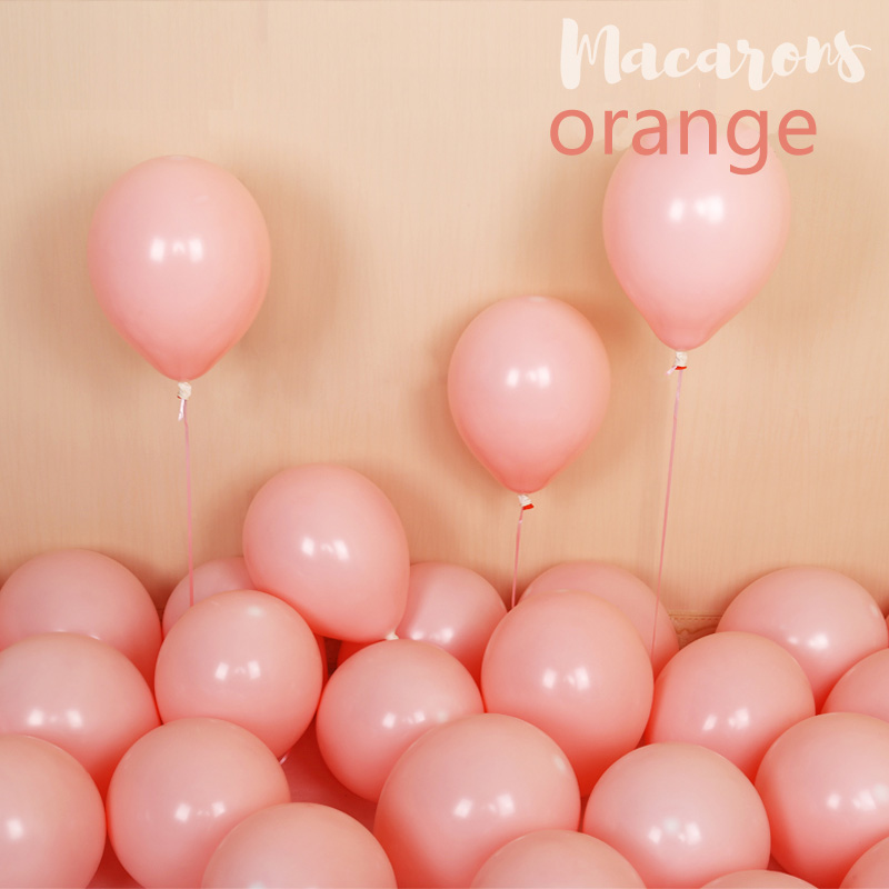 100pcs 10inch Latex Macaroon Balloon Baby Birthday Wedding Balloons Valentine's Day Party Decoration Air Ball Arch baloons Decor-orange