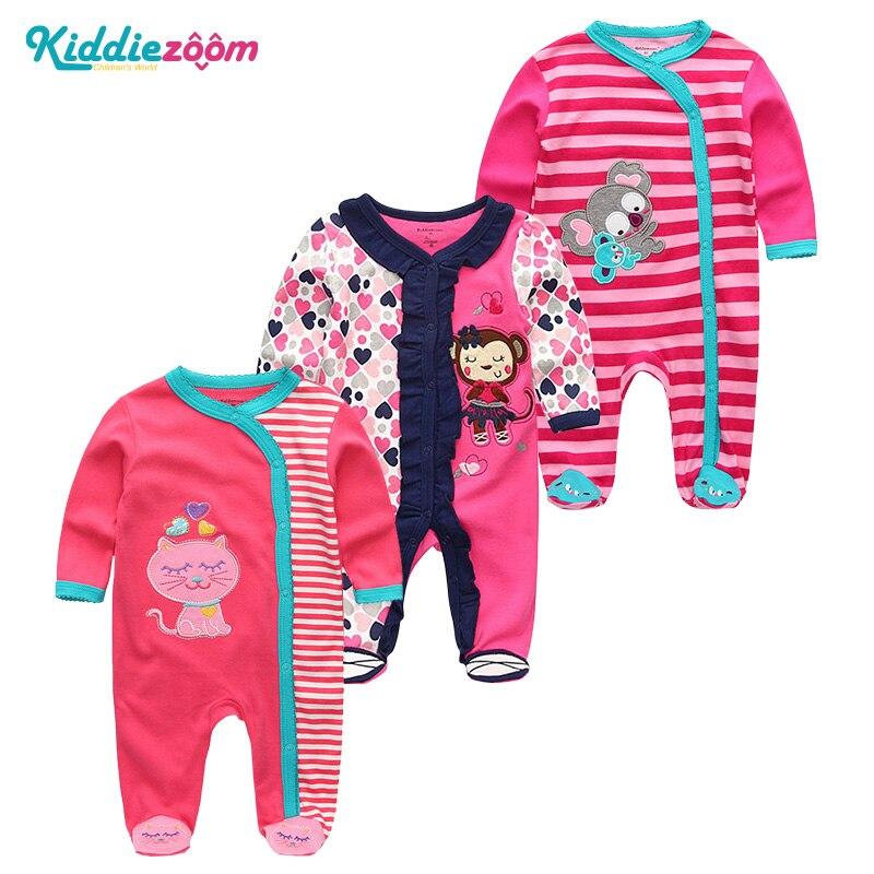 3Pcs/sets Unisex Baby Girls Clothes Newborn Long Sheeve Boys Rompers Japamas Roupas de bebe Jumpsuit 3 6 9 12M Clothing