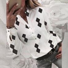 Блузка женщины плюс размер S-XL в 2019 блузки женщины одежда blusa свободного покроя топы геометрическая печати с длинным рукавом полиэстер кнопка  Z4 в аренду