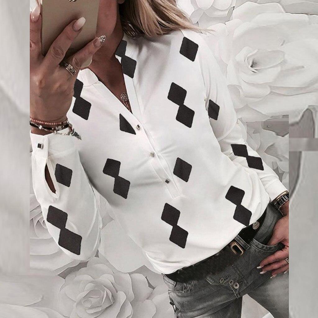Chemisier femmes grande taille S-XL Blouses femme 2019 Blusa mode décontracté hauts géométrique imprimé à manches longues bouton Polyester