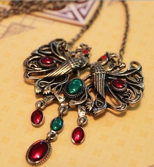 2011 New Vintage Personality Gorgeous Peacock Long Necklace Fashion simulated Gemstone Sweater Chain Women's 20pcs/lot