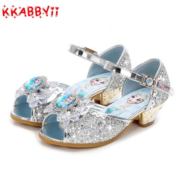 1351a3f931 US $12.16 20% OFF|New Girls Sandals High Heels Children Fashion Princess  Leather Summer Elsa Shoes Chaussure Enfants Fille Sandalias Nina-in Sandals  ...
