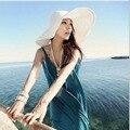 """2016 summer fashion women """"mujer de playa plegable Grande Ancho Brim Floppy Sol Sombrero sombrero de paja de las mujeres chica sombreros de panamá"""