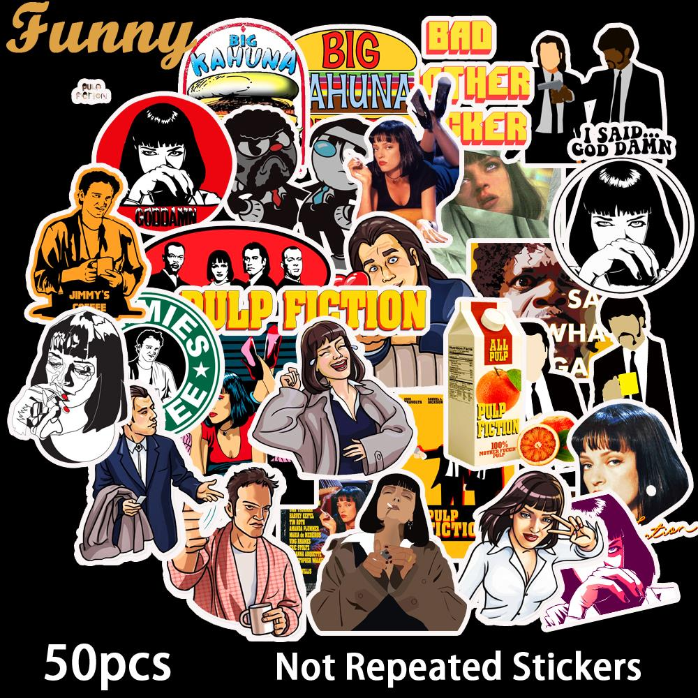 50 PCS Classic Movie Pulp Fiction Stickers Cartoon Stickers Decal For Snowboard Luggage Fridge Laptop Sticker