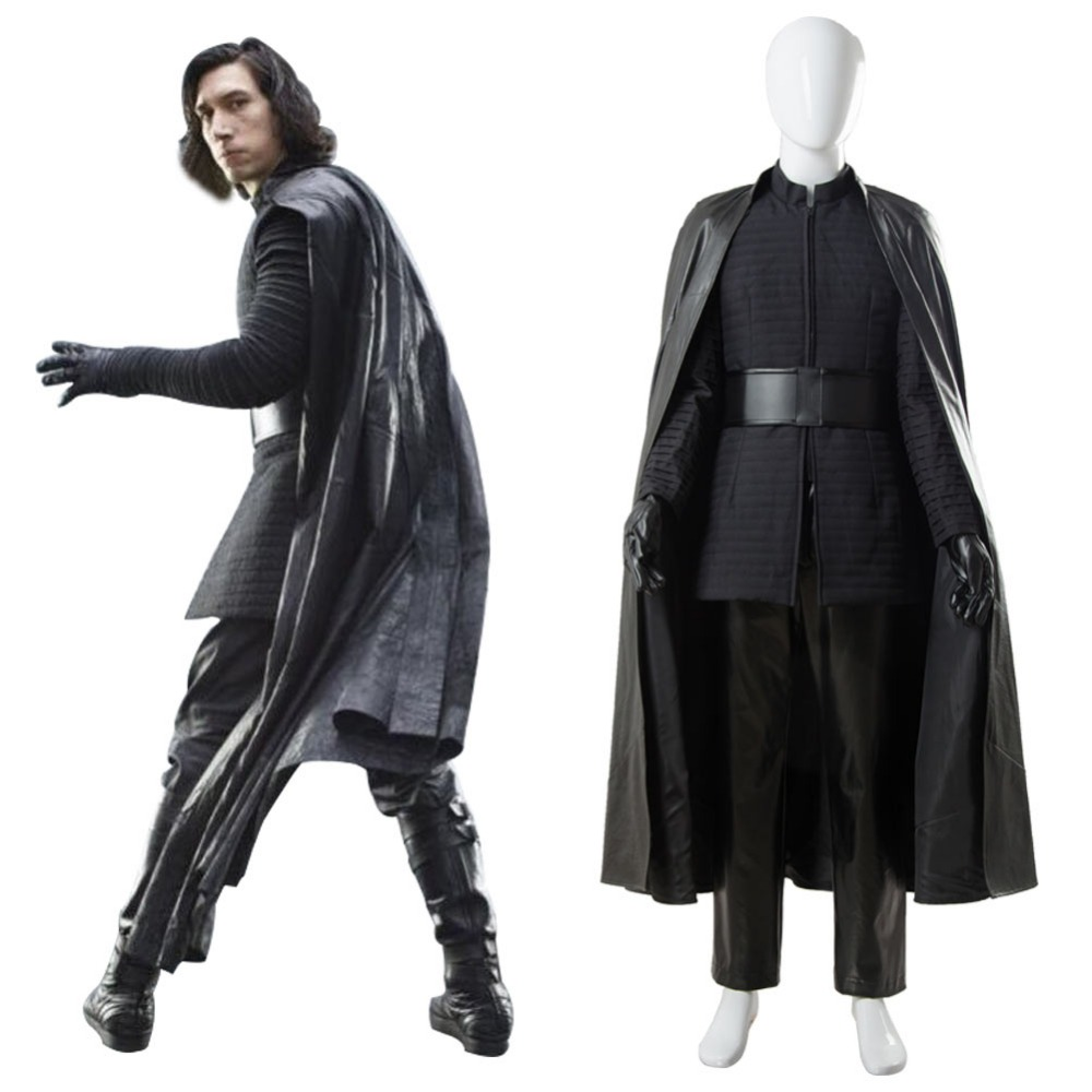 Kylo Ren Cosplay Star Wars 8 The Last Jedi Cosplay Kylo Ren Costume Outfit Ver.2 Full Set Costume Halloween Custom Made