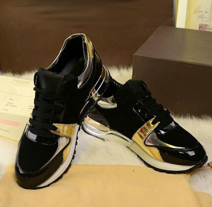 2015 l women black gold pathwork genuine leather sneakers