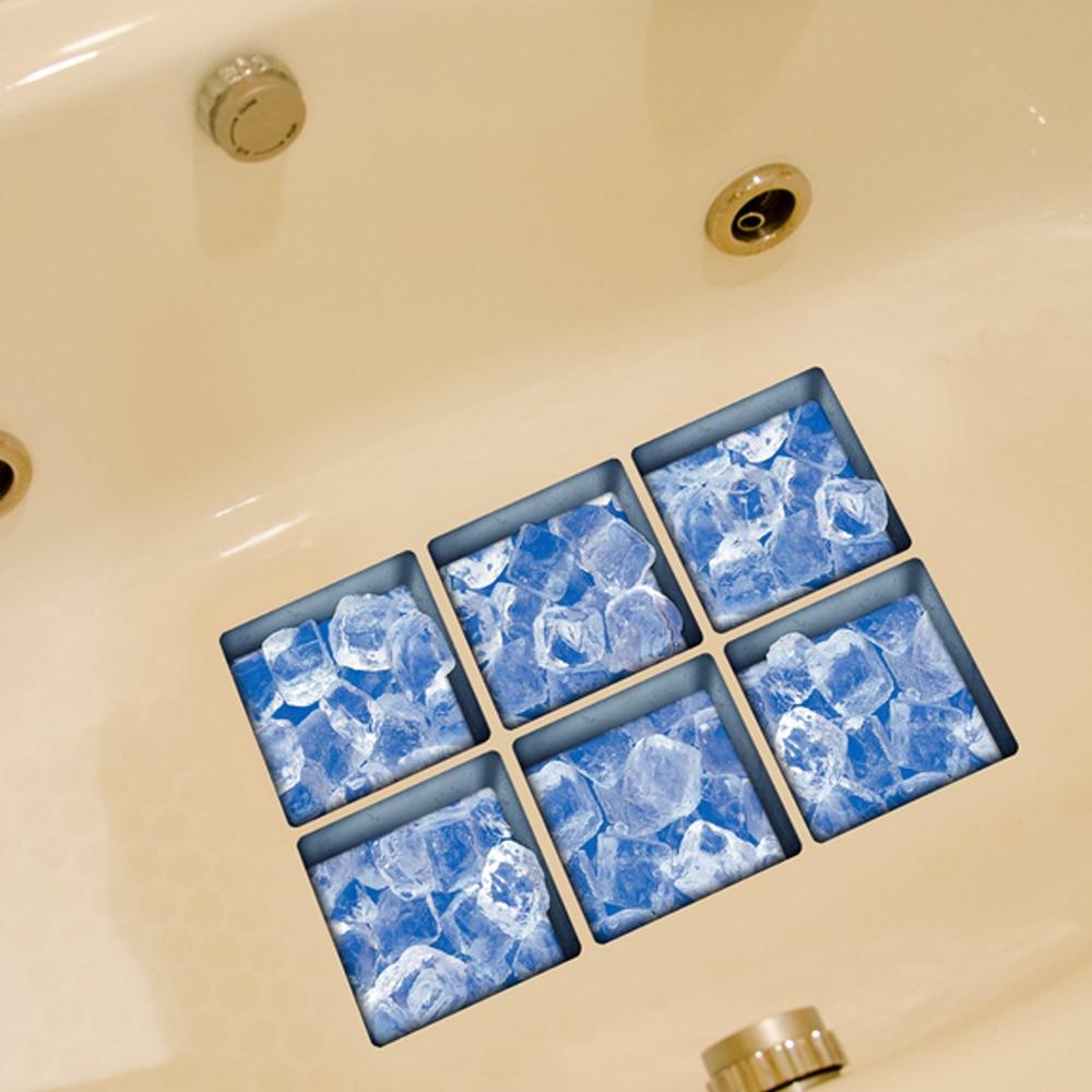 6 PCS 3D Tattoos Tub Stickers Cool Summer Sea Series Non Slip Bath ...