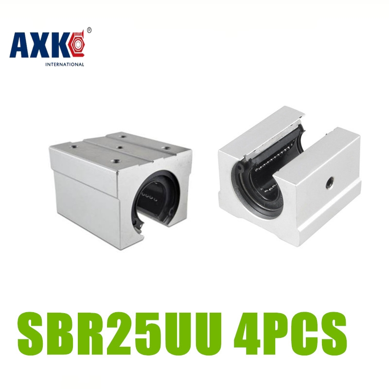 AXK 4pcs/lot SBR25UU for 25mm linear round guide linear rails CNC parts SBR25UU 2pcs sbr25 l1500mm linear guides 4pcs sbr25uu linear blocks for cnc
