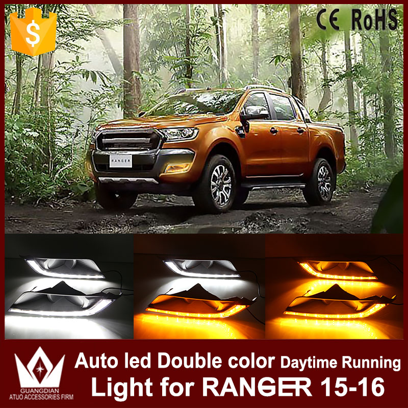 Tcart 1Set Car LED Daytime Running Lights DRL Auto LED White+Yellow Fog Lamps With Yellow Turn Signals For Ford Ranger 2015 2016 tcart 2x 9005 hb3 9006 hb4 dual color car led headlight white yellow headlamp bulbs fog lamps for plips chip 36w auto led light