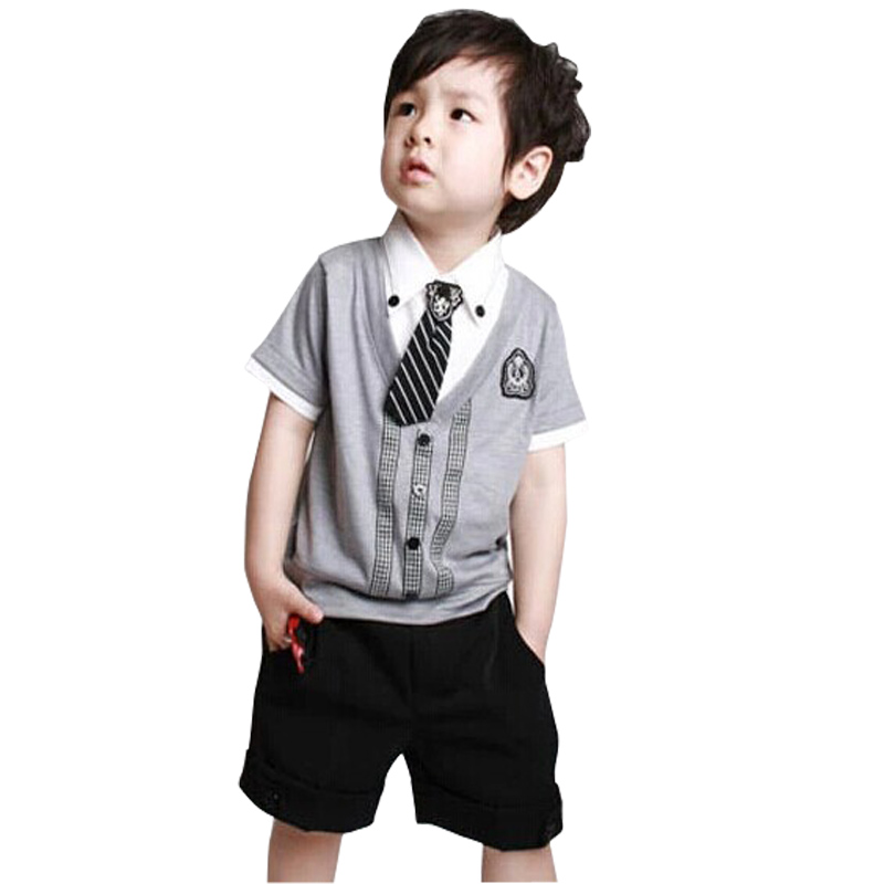 HOT children baby boys short clothes suits set kids gentleman summer shirt tshirt+ pants+tie sets suit