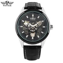 Business Stainless Steel Leather Strap Watch for Men Automatic-self-winding Mechanical Watches for Male Hollow Triangle Dial mechanical watches men sliver watch automatic mechanical men watches waterproof self winding male clock stainless steel military