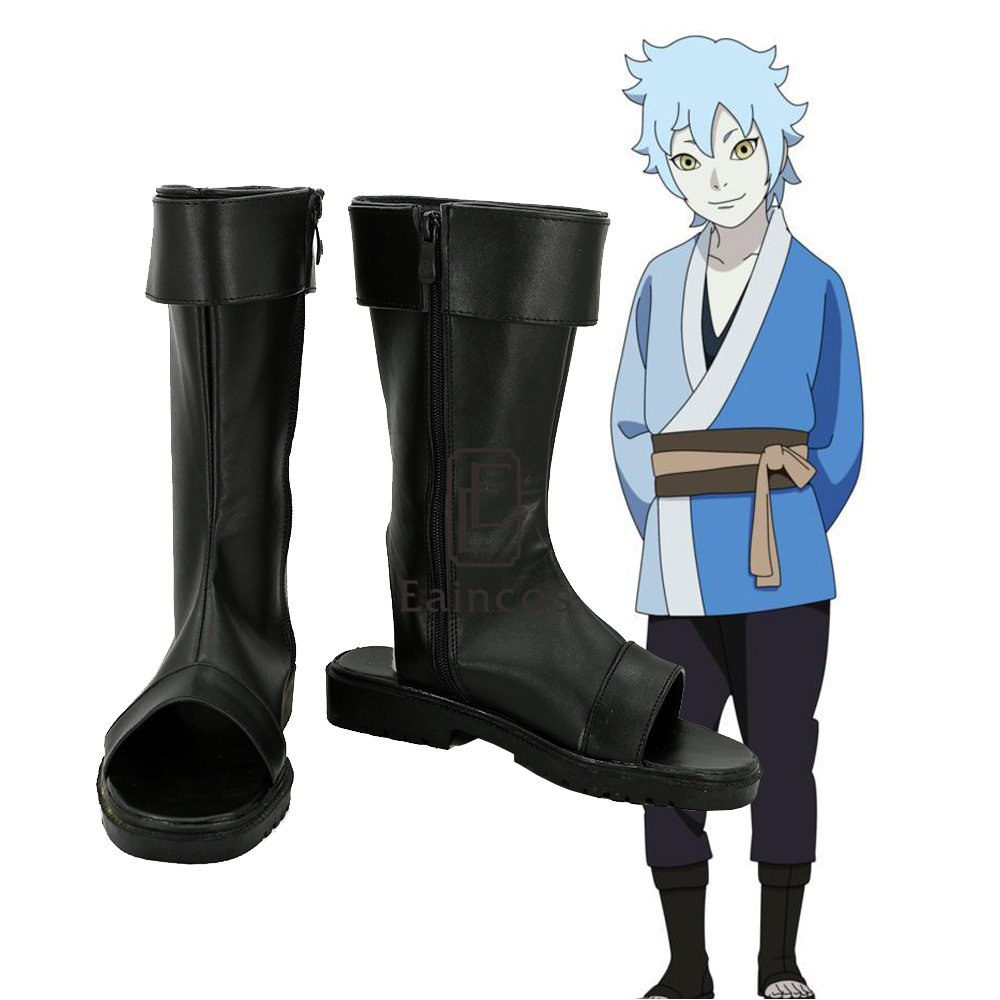 Boruto Naruto Naruto The Movie Shippuden Mitsuki Cosplay Shoes Fancy Black Peep Toe Boots Custom made
