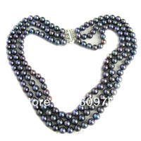 Hot sell Noble FREE SHIPPING>>>@@ Free deliver jewelry GENUINE MULTI STRAND 7MM BLACK COLOR CULTURED FRESHWATER PEARL NECKLACE