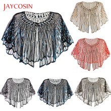 JAYCOSIN 20th Century Retro women's Shawl Beaded Sequins Decorative Evening Cloak Borero Dress top Trend 719#2(China)