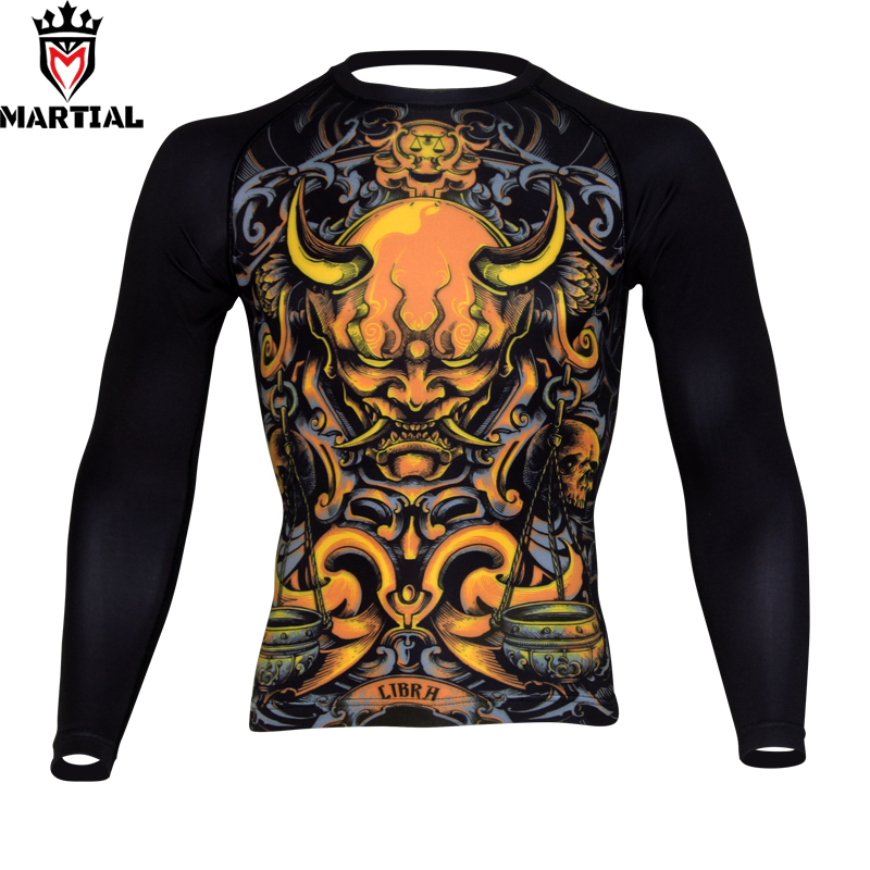 Free Shipping Martial :Libra Sublimated Mma Fight Rashguards Compression Combat Shirt Kickboxing Men's Quick-dry Shirt