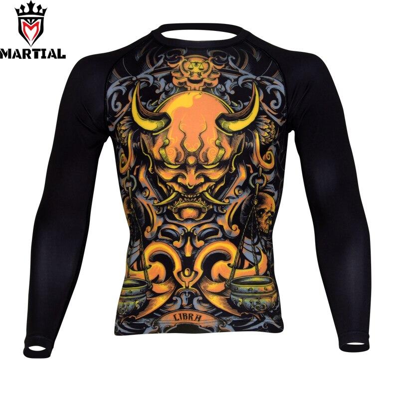 Free shipping Martial :Libra sublimated mma fight rashguards compression combat shirt kickboxing men's quick-dry shirt