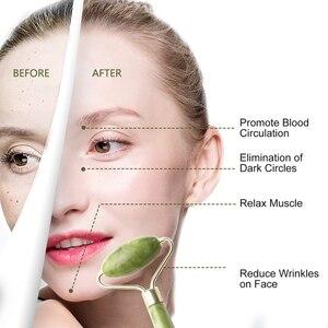 Image 2 - 1PCS Double HEAD ธรรมชาติความงามหน้านวด Jade Roller ใบหน้านวดบางผ่อนคลายเครื่องมือนวดหน้า Jade Roller