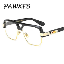 PAWXFB Brand Black Square Gig frame Clear Oversized glasses semi Rimless Unisex Optical frames Plasin Eyeglasses