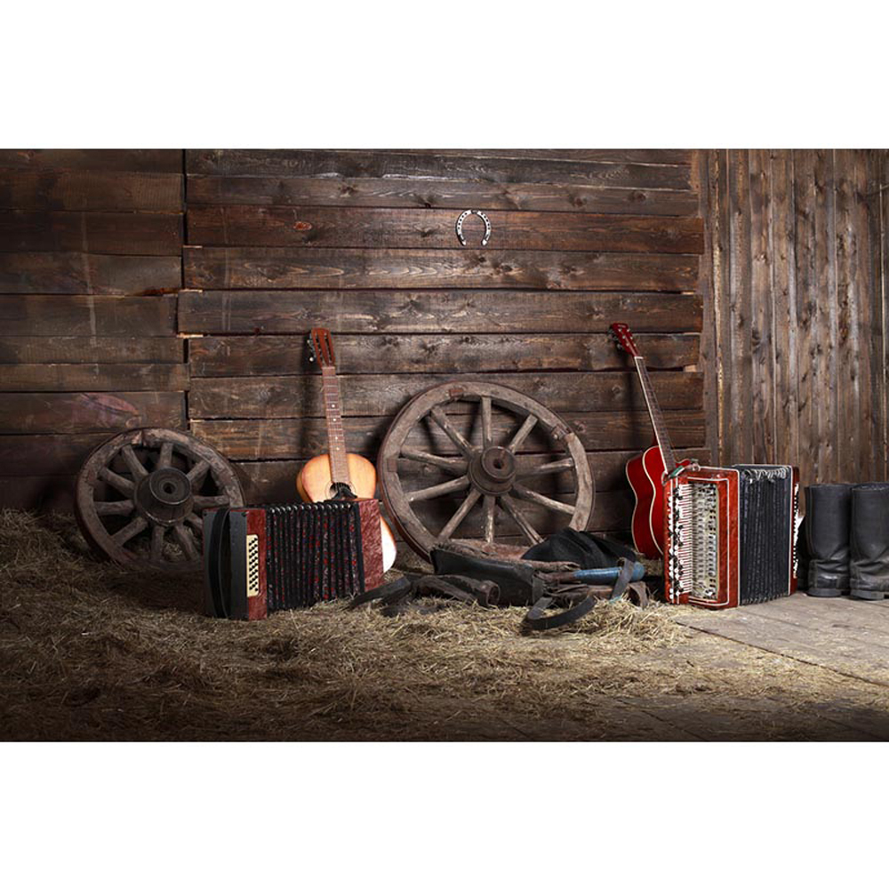 western country cowboy theme birthday party backdrop barn warehouse straw guitars wood wall kids. Black Bedroom Furniture Sets. Home Design Ideas