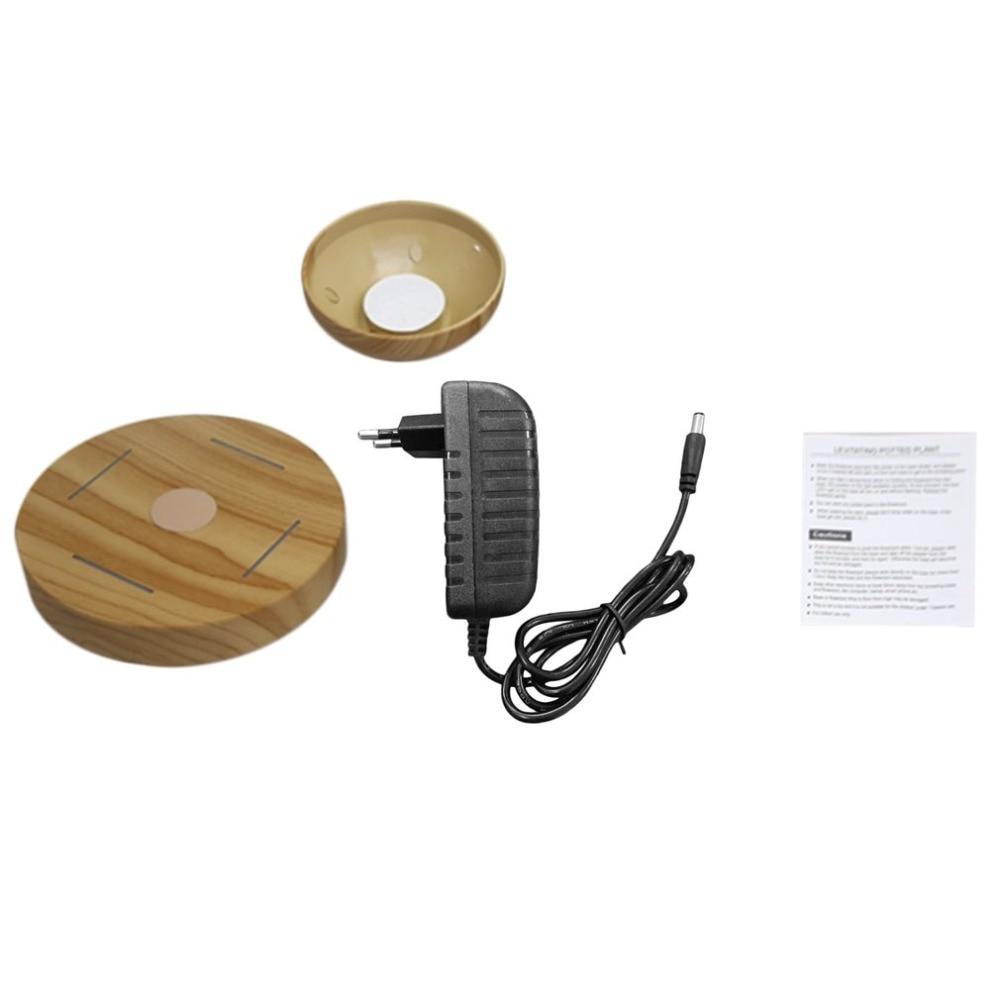 Magnetische Ausgesetzt Topfpflanze Grain Runde LED Licht Schwebenden Rotierenden Indoor Air Blumentopf Home Office Decor Keine Anlage