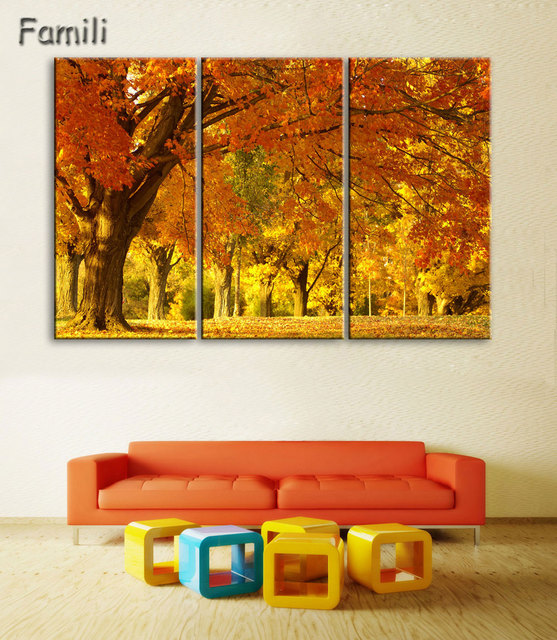 3Pieces Cuadros Wall Art Autumn Tree Oil Painting On Canvas ...