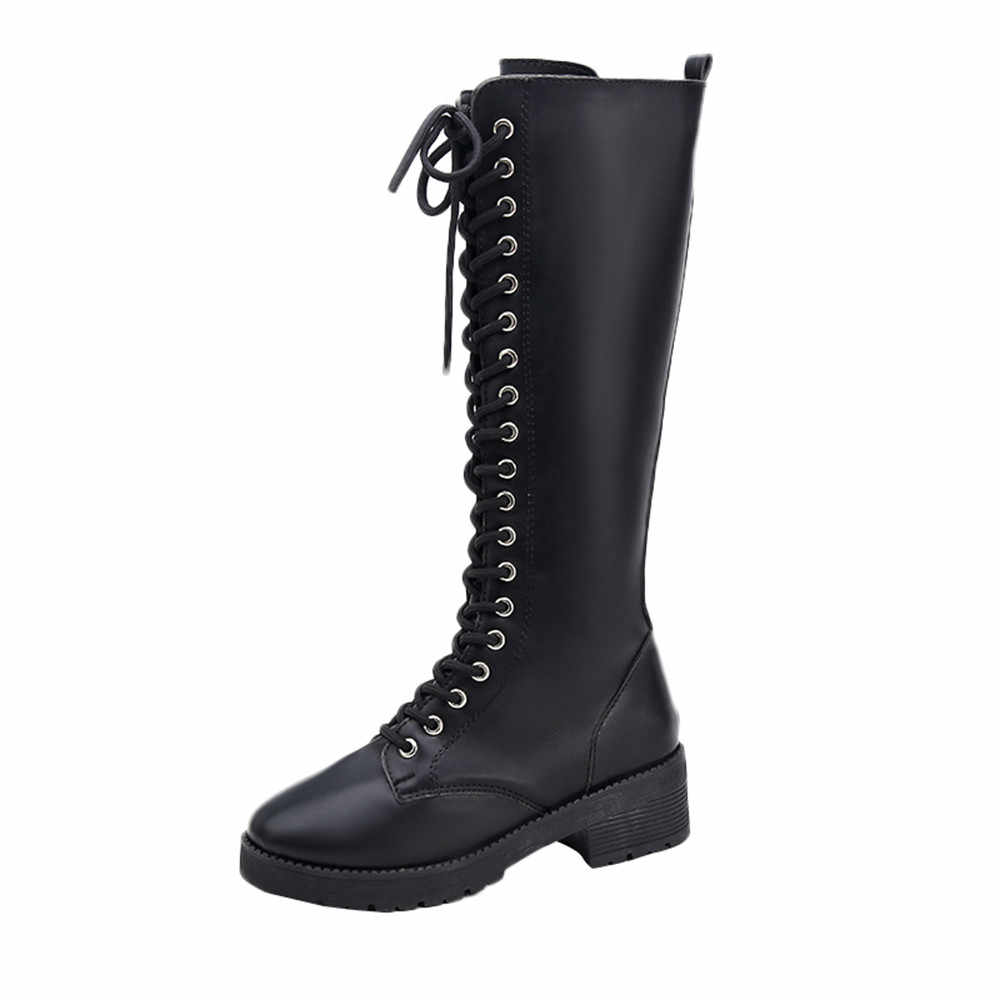 Women's Retro Leather Flat Boots for Women Fashion Comfortable Long Tube Knight Martin Boots 2019 Winter Shoes Plus Size Black