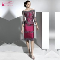 Knee Length Mother Of The Bride Dresses Custom Made Fuchsia Dress With Gray Lace Formal Wear Evening Dress Gown