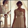 Comercio al por mayor 2016 nueva novia vestido de noche vestido de hombro de la vendimia de boho diosa Griega trailing satén vestido Delgado era delgada