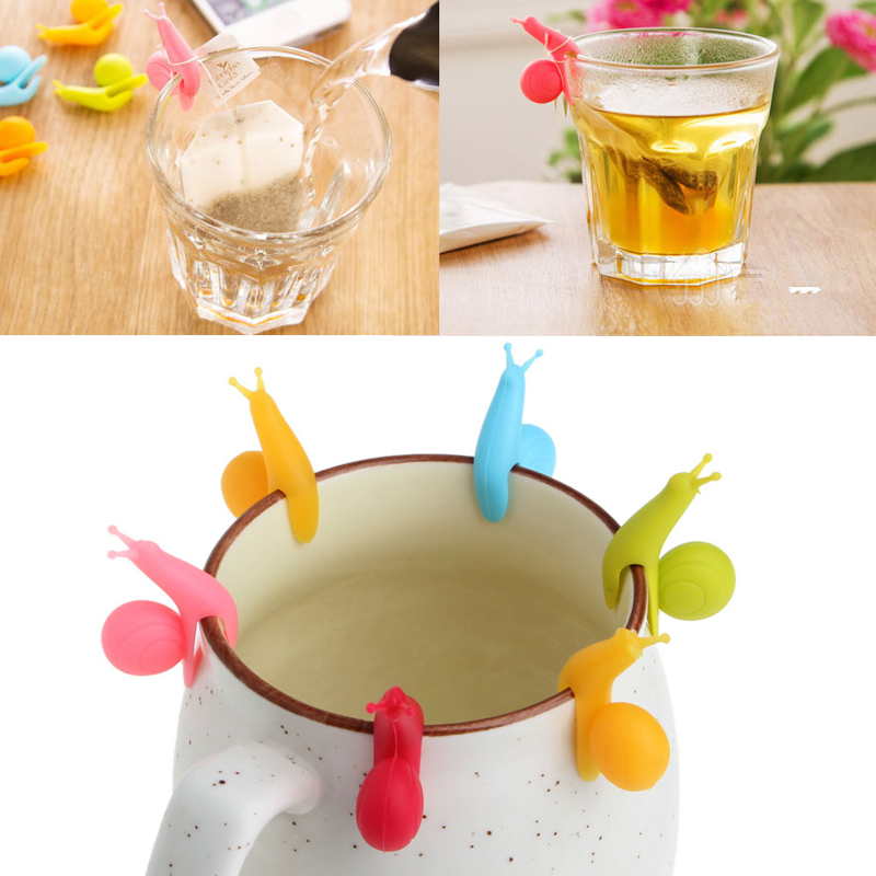 6Pcs Cute Snail Shape Silicone Bag Tea Hanging Label Cup Glass Clip Holder Filter Tool Filters Colorful Mini Tea Tools